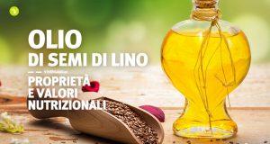 Immagine con olio di lino in una boccetta e semi di lino posti sopra un cucchiaio di legno