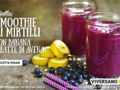 Ricetta dello smoothie con mirtilli latte di avena e banana
