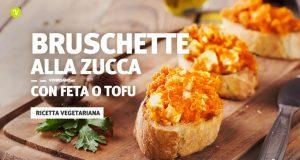 Ricetta dell bruschette vegetariane con zucca e feta