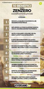 Infografica: 10 benefici dello zenzero