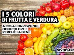 Immagine di frutta e verdura suddivisa in base al colore