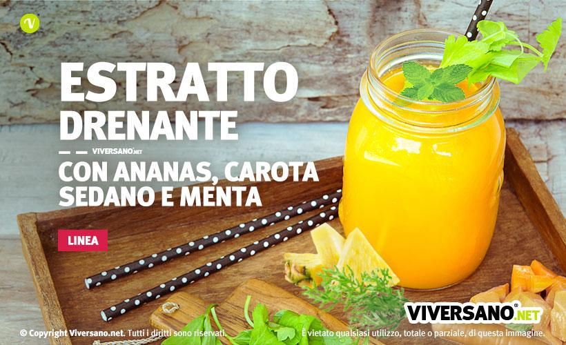 Immagine di un bicchiere contenente un succo drenante a base di anans carota sedano e menta