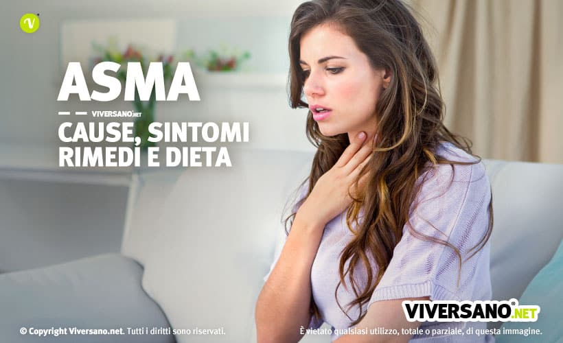 Donna con asma che si tocca la gola