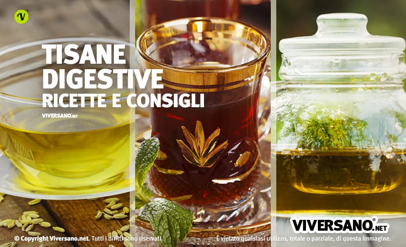 Composizione di tre tisane digestive