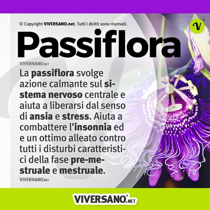 Infografica sui benefici della passiflora